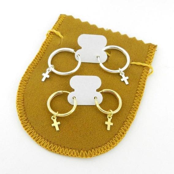 Brinco Masculino 15/18mm 2 Pares Folheado Ouro/prata Br251