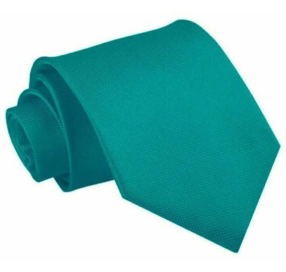 Corbata Tono Azul Jade - Textura Microcuadros