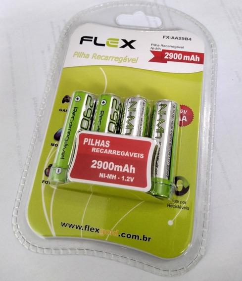 Pilha Recarregavel Flex Aa 1,2v 2900mah Cartela C/ 4 Peças