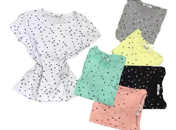 Kit 5 Blusa T-shirt Verão Estampas Algodão Importado Atacado