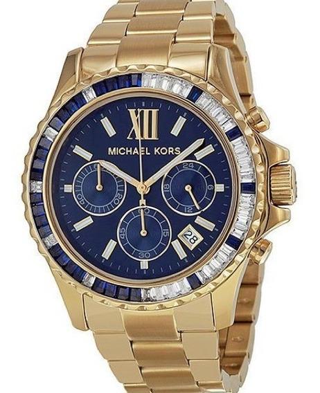 Relógio Michael Kors Mk5754 Golden Everest Dourado Azul