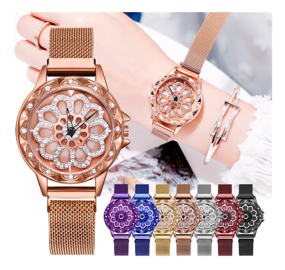 2 Relógios Femininos Pulseira Magnética Fundo Giratório