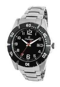 Relógio Champion Masculino Aço Prata Visor Preto Ca31300t