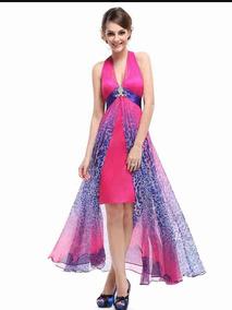 Vestido Festa Formatura 15 Anos Pink Azul Fenda Mullet G