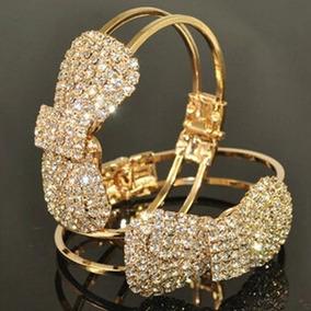 Pulseira Bracelete Folheado Ouro Cristais Zirconia Borboleta