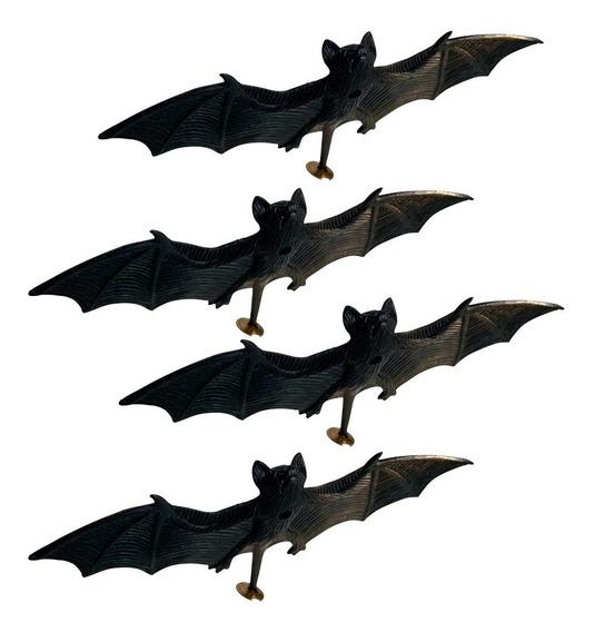 Set Murcielagos Negros Plástico X 4 Decoración Halloween