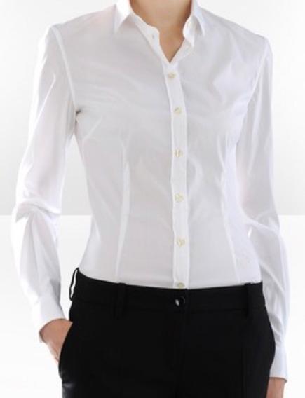 Camisa Dama Mujer Elastizada Entallada Blanca Ideal Empresas