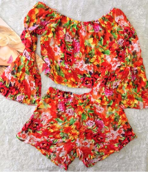 Conjunto Laranja Floral Tam 38