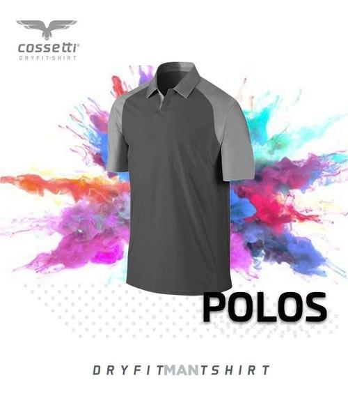 Playera Tipo Polo Cossetti Manga Corta Dry Fit Ranglan Xl