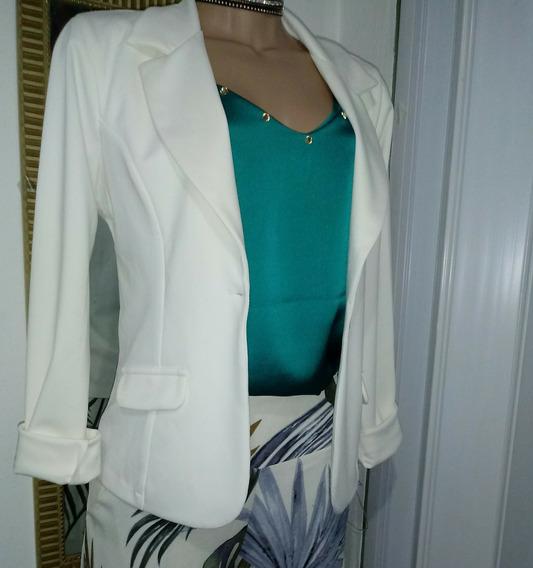 Blaser Coton Spantex Branco Ou Pink