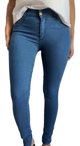 Jean Chupin Pantalon Mujer Azul Tiro Alto Elastizado