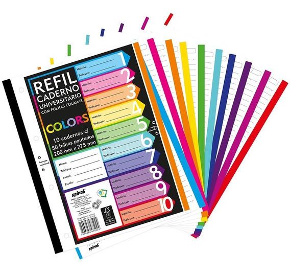 Folha Fichario C/500 Fls Coladas Refil Color 4furos Promocao