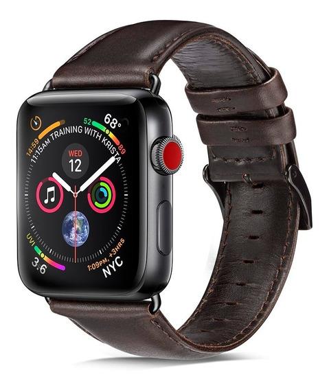 Pulseira De Couro Apple Watch 44mm Com Adaptadores Pretos