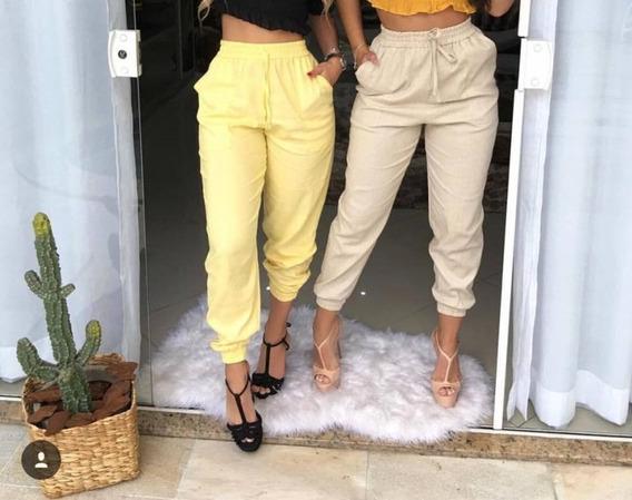 Conjunto 3 Calças Linho Jogger Cintura Alta Pantalona Oferta Soltinha Com Bolso Diversas Cores Elástico No Cós Kit