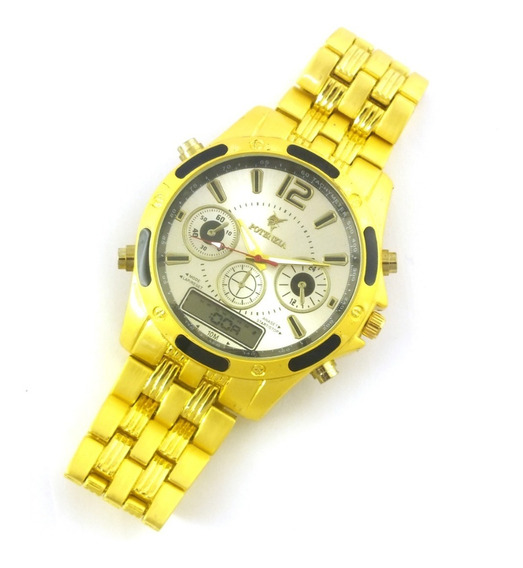 Relógio Masculino Potenzia De Pulso Com Pulseira Metal B5643