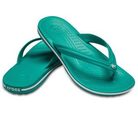 Crocs, Sandalia Unisex, Crocband Flip Tropical Verde