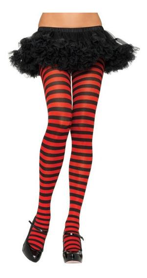 Pantimedias A Rayas Halloween Rojo Con Negro Dark Gotico