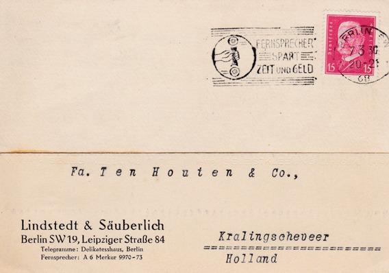 Alemania 1930 Sobre Comercial De Berlin Con Sello Postal E9