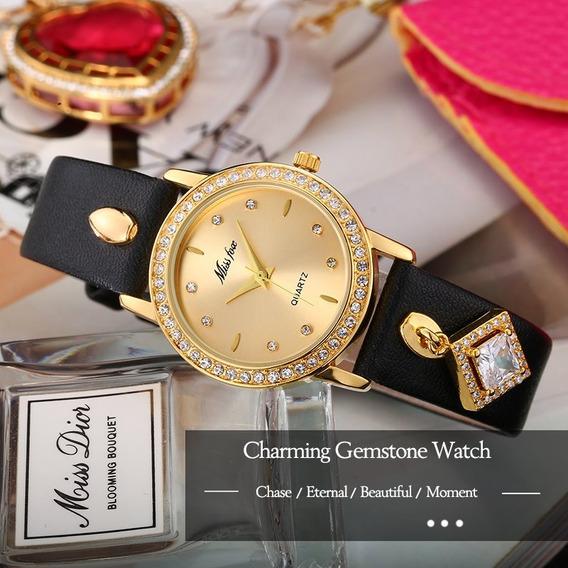 Relógio Feminino Elegante Miss Fox Importado Couro + Caixa