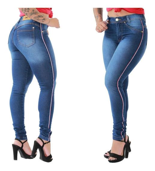 Calça Jeans Feminina Skinny Levanta Bumbum Cós Alto C Listra