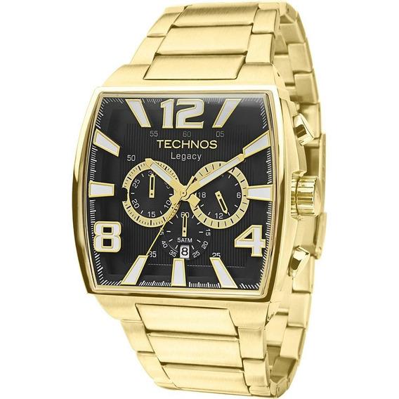 Relógio Technos Masculino Dourado Quadrado Legacy Original