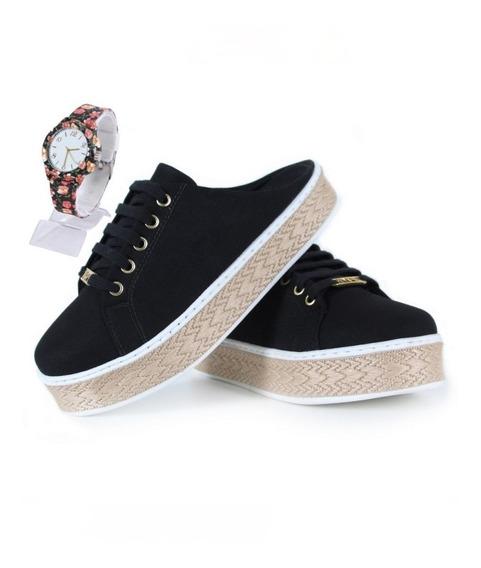 Mule Sapato Tênis Feminino Em Lona Varias Estampas Cores Sapatilha Plataforma Corda Lançamento Qualidade Hype