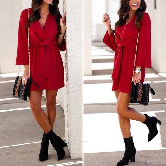Vestido Chemise Vermelho Luxo Crepe Chiffon Com Laço