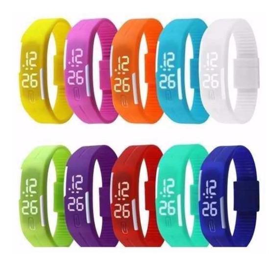 10 Pç Relógio Led Digital Sport Bracelete Pulseira Silicone