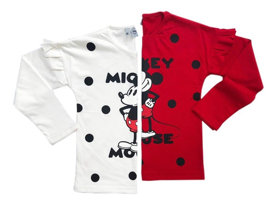 Remera Manga Larga Nena Mickey Disney Oficial