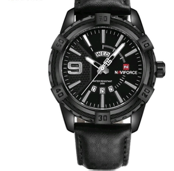 Relogio Masculino Naviforce Nf9117 Couro Original Calendario