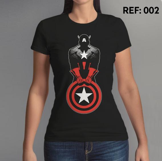 Camiseta Feminina, Capitão America, Marvel, Comics, Avengers