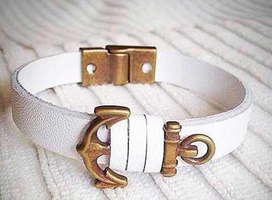 Pulseira Bracelete Masculina Feminina Couro Ancora A161