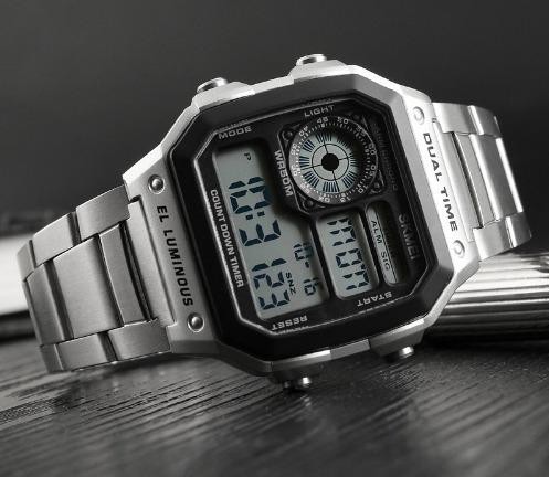 Relógio Digital Skmei 1335 Aço Inox Pulso Prata