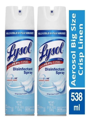 Lysol  Desinfectante En Spray  19oz X2