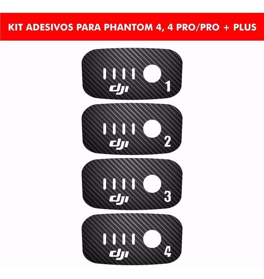 4 Adesivos Fibra De Carbono Para Bateria Phantom 4 E 4 Pro +