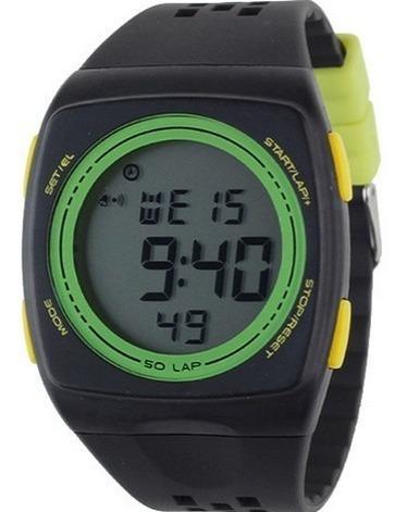Relógio Pulso Esportivo Caminhada Multifuncional Preto Verde