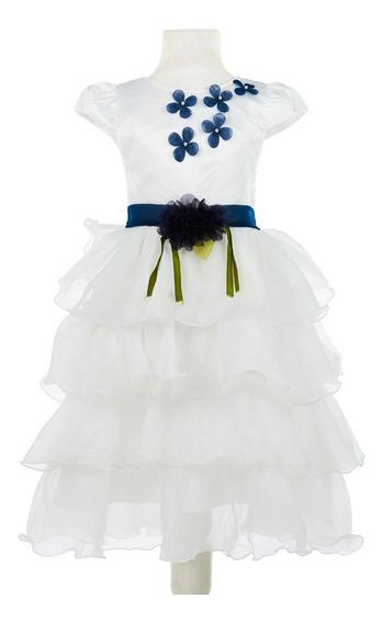 Vestido Importado De Nena Con Tull Volador Y Flor Color Azul