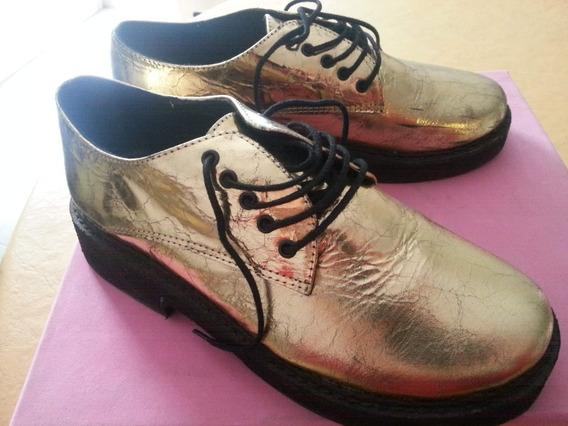 Zapatos Acordonados Dorados Mishka Nuevos En Caja T39 Chico