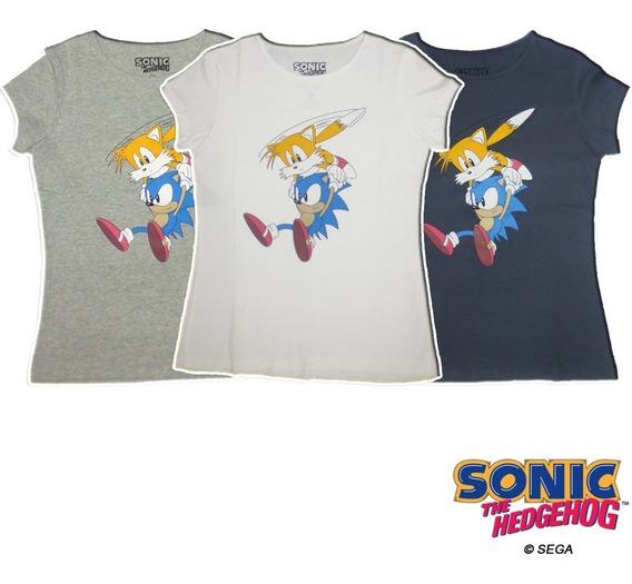 Remera Dama Sonic The Hedgehog Oficial Sonic & Tails Sega