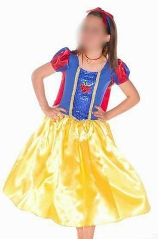 Fantasia Infantil Branca De Neve Princesa Vestido Cosplay