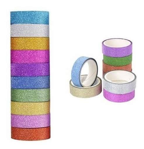 30 Fitas Washi Tape Adesiva Glitter Decorativa Artesanato