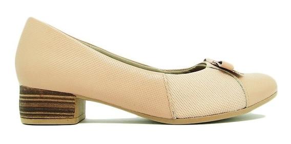 Sapato Usaflex Ad0406 Couro Liso Salto Joanete Conforto