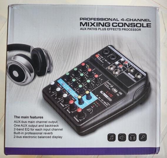 Mesa De Som Mixing Console 4 Canais.