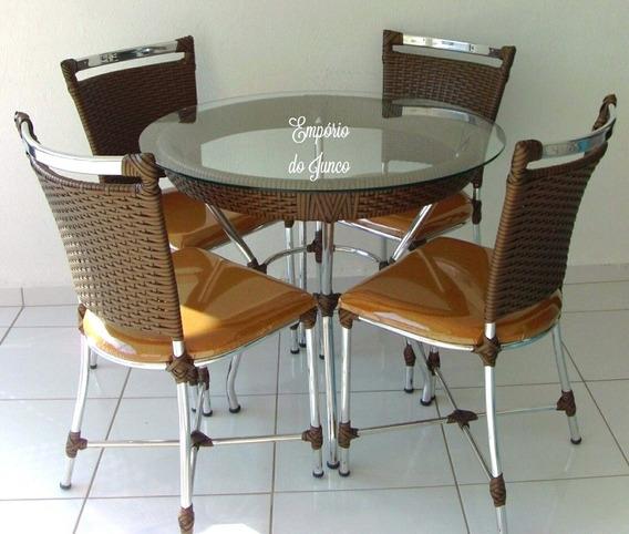 Mesa De Aluminio E Junco Com 4 Cadeiras. Vidro Nao Incluso