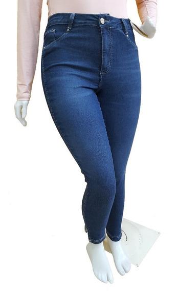 Calça Jeans Feminina Plus Size Recorte Na Barra Do 48 Ao 58