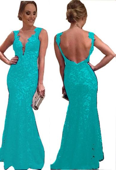 Vestido Festa Longo Para Madrinha Em Renda Azul Tiffany