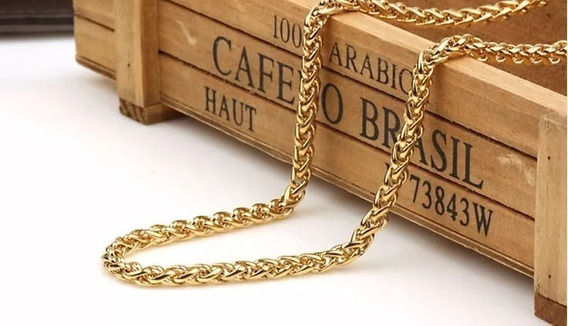 Cordão Aço Inox B.ouro 70 Cm Escama . Ref: 308