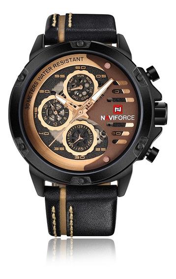 Naviforce Moda Casual Quartzo Relógio 3atm Resistente À Á