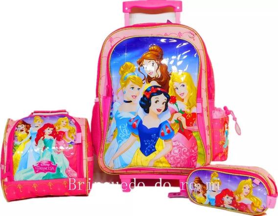 Kit Mochila Infantil Escolar De Rodinhas Princesas 2019