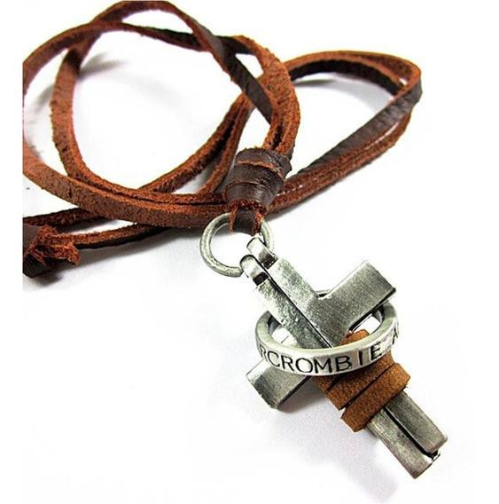Cordão/colar Estilo Cruz Cross Abercrombie Couro Hollister